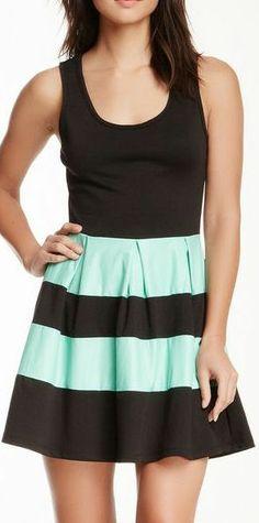 Mint & Black Stripe Dress //
