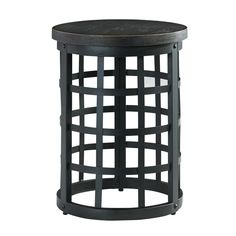 This distressed, powder-coated end table is made of metal and birch wood and will freshen up any living room with a modern look. (Matching Cocktail Table Also Available) Marimon Round End Table | Weekends Only Furniture and Mattress