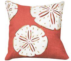 Sand Dollar Beaded Applique' Pillow - Coral