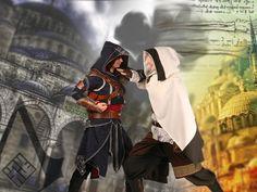 Angelika F. und Maria K. als Vali cel Tradat und Ezio Auditore da Firenze aus Assassin's Creed: Revelation.
