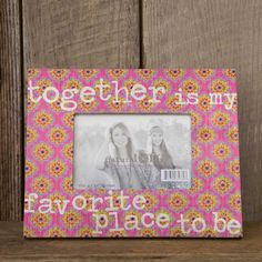 """Calico Frame with """"Together is my Favorite Placeナ"""" - These wooden picture frames brighten any space! Pink, yellow, and orange printed frame fits a 4"""" x 6"""" picture and says """"together is my favorite place to be."""" Does not include hanging hardware. ALL SALE ITEMS ARE FINAL SALE. Please refer to our Return Policy for more information."""