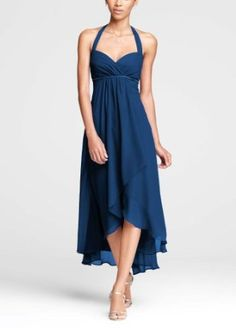 Crinkle Chiffon High Low Halter Bridesmaid Dress Style, not color