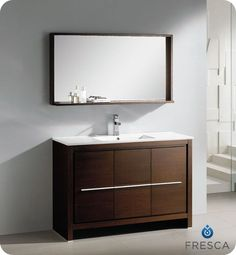 Allier 48-inch W Vanity in Wenge Brown Finish with Mirror