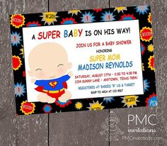 Superhero Baby Shower Invitations 1.00 each by PaperMonkeyCompany, $1.00