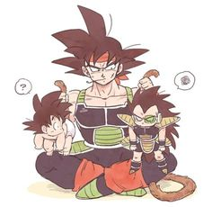 Se calman, o los calmo. Bardock, Goku, and Raditz, Dragon Ball Z, Son Goku, Dragonball Super, Cute Dragons, Anime Merchandise, Anime Costumes, Anime Comics, Otaku, Kid Goku