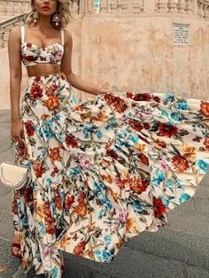 Description Product Name Sexy off shoulder Midriff baring floral printed beach maxi dress Brand Name Chicgostyle SKU Gender Women Season Summer Type Fashion Occasion Beach Sleeve Sleeveless Pattern Floral printed Please Note:All dimensio Outfits Dress, Sexy Dresses, Casual Dresses, Fashion Outfits, Summer Dresses, Summer Clothes, Beach Clothes, Dress Fashion, Floral Dresses
