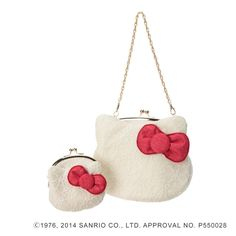 Hello Kitty 40th White Coin Purse Case and Bag Clutch Set Sanrio Made in Japan