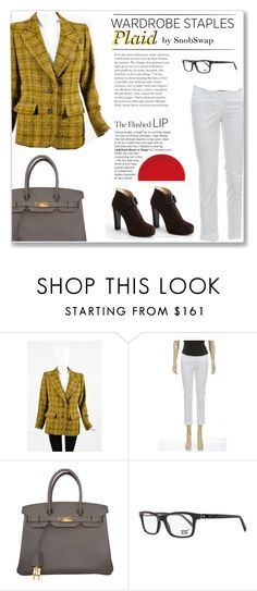 """Plaid"" by snobswap ❤ liked on Polyvore featuring Yves Saint Laurent, Michael Kors, Hermès, Mont Blanc, Prada, plaid and WardrobeStaples"