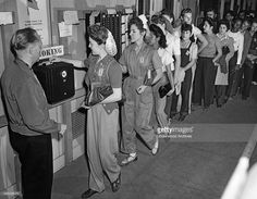 Students at James A, Garfield High School in LA check in at the time clock for their work at the high school airplane plant, Los Angeles, California, December Vintage California, Southern California, Airplane Plant, Garfield High School, Chicano Love, East Los Angeles, San Luis Obispo County, Time Clock, Historical Photos