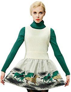 Womens Winter Dress Horses Print Sleeveless