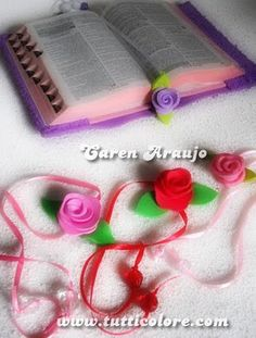 Caren Araujo - Arte em EVA: Rosa Marca-páginas