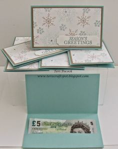 Quick Gift Card Holder or Money Wallet - With Endless Wishes - Stampin' Up! – Quick Gift Card Holder or Money Wallet – With Endless Wishes Teri Pocock – t - Gift Cards Money, Free Gift Cards, Gift Card Cards, Christmas Gift Card Holders, Xmas Cards, Christmas Presents, Scrapbooking 3d, Don D'argent, Endless Wishes