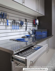 Stainless Steel Workbench; Organisation;  Be sure to come and check out our showroom! www.burlingtonclosetandgarage.ca