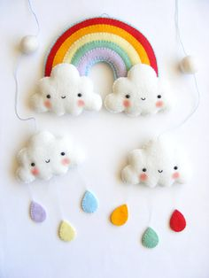 PDF pattern Rainbow and clouds baby crib mobile por iManuFatti, $7,50