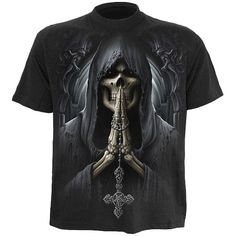 Death Prayer is a graphic mens t-shirt from the gothic clothing collection by Spiral, with skeleton and rosary print back and front.