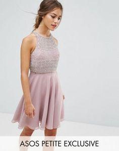 ASOS PETITE Crop Top Embellished Skater Dress