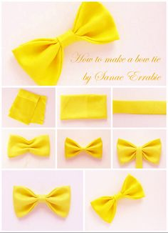 how to make a bow tie.by sanae errabie Make A Bow Tie, How To Make Bows, Fabric Bows, Ribbon Bows, Baby Hair Bows, Headband Baby, Felt Bows, Boutique Hair Bows, Dog Bows