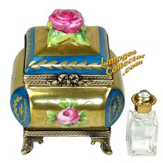 BLUE & 24K GOLD PERFUME CHEST LIMOGES BOX (BEAUCHAMP)