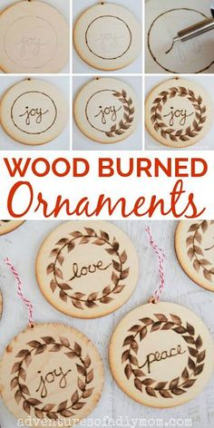 Make these beautiful wood burned ornaments for your Christmas tree this year. They are easy to make and will add a bit of a rustic flair to your holiday decor. Since they are handmade, they make a thoughtful gift for friends or family. Wood Burning Crafts, Wood Burning Patterns, Wood Burning Art, Wood Burning Projects, Diy Wood Projects, Wood Crafts, Diy Crafts, Vinyl Projects, Art Projects