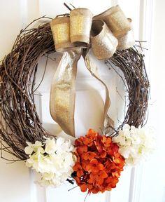 Front Door Wreath Fall Rustic Hydrangeas Pumpkin by WoodAndBurlap, $58.00