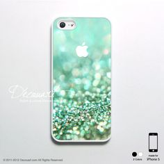 iPhone 5 case, iPhone 5 cover, case for iPhone 5, mint teal green sparkle with apple logo S384. $18.99, via Etsy.