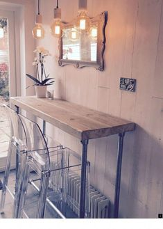 Breakfast Bar Table Diy Style 39 Ideas For 2019 Industrial Style Dining Table, Industrial House, Industrial Interiors, Kitchen Industrial, Industrial Furniture, Industrial Stairs, Industrial Closet, White Industrial, Industrial Apartment