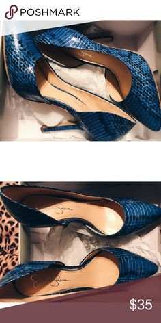 "Jessica Simpson Snake-Print Pumps  || Size 8.5 Size 8.5  Worn once  PERECT condition  Blue Leather Snake-Print  Very chic & comfortable for any occasion  Heel height measures 4""  Pointed-toe  Memory midsole Still in the original box  No stains/tears/holes   ‼️ALL OFFERS WELCOME/NO TRADES ‼️  Guaranteed FAST-SHIPPING  ✅ Bundle 3+ GET 15% OFF! ✅ Jessica Simpson Shoes Heels"