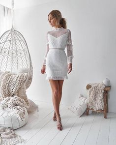 Sexy Lace Long Sleeve Ruffled Splicing See-Through Hollow Out Dress – bodycon dress,beautiful dresses,fancy dresses,amazing dresses,cocktail dress outfit White Lace, White Dress, White Long Sleeve Dress, Sheath Dress, Bodycon Dress, Lace Wrap, Dress Silhouette, Dress Brands, Marie