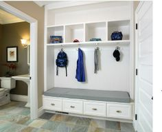 """Basic idea with only a 12-14"""" set back. Use drawers at least 12"""" deep to accommodate boots in winter."""