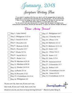 January 2018 Scripture Writing Plan