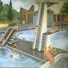 Original Vintage French Poster  1960 Swiming Pool and The Garage Double Sided Large Poster