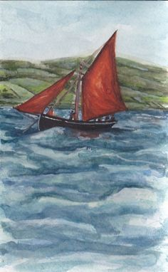 Galway Hooker Races by Fiona Concannon on ArtClick.ie Irish Seascape Watercolour Art Galway Watercolor Art, Ireland, Irish, Racing, Painting, Craft, Hand Crafts, Watercolor Painting, Irish Language