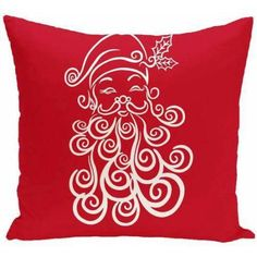Simply Daisy Holiday Print Decorative Pillow, 16 inch x 16 inch, Red