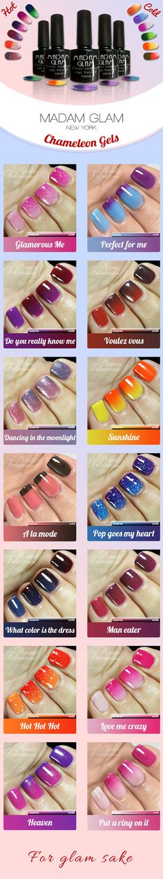 You're hot than you're cold! See those chameleon gels change colors as your nails change temperature! Click, sign up and shop them all at 50%off now! https://www.madamglam.com/?utm_source=pinterestad-chameleonswatches