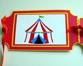 Circus Birthday Banner, Happy 1st, First, Tent, Tickets, Red, Yellow, Green, Blue