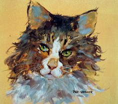 CAT Original Watercolor Painting on Yupo