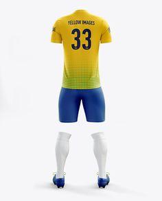 Men's Full Soccer Kit with V-Neck Shirt Mockup (Back View)