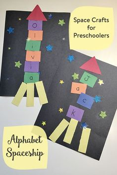 Space Crafts for Preschoolers & Toddlers: Alphabet and Name Spaceships. Name and alphabet recognition. Tout Petits et Enfants dâge Préscolaire Space Books for Preschoolers Daycare Crafts, Classroom Crafts, Kids Crafts, Outer Space Crafts For Kids, Preschool Art Projects, Kids Diy, Craft Projects, Summer Crafts For Preschoolers, Craft Ideas