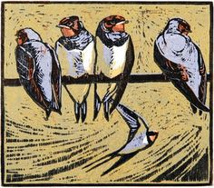 Young Swallows - Woodcut by Robert Greenhalf