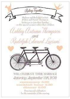 Vintage Bicycle Wedding Invitation  tandem by sofiainvitations, $5.00