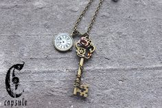 30.00$ Antique Bronze Steampunk Key Pendant Necklace on a Chain with Vintage Watch Gear, Copper Rose and Swarovski Crystal https://www.etsy.com/ca/listing/172227138