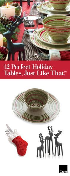 Cozy up to festive squiggles of red and green. Add a wink with mini knit stockings for flatware. We've designed 12 festive holiday tables from elegant to fun, that will make you look like an entertaining pro. 'Tis the season for entertaining—open-house cocktail parties, holiday dinners, tree-trimming get-togethers, Christmas breakfast. The key to making an impression on your guests isn't just the menu you plan, but the way you plan to present it.