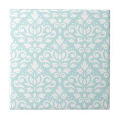 Scroll Damask Lg Ptn White on Duck Egg Blue Small Square Tile