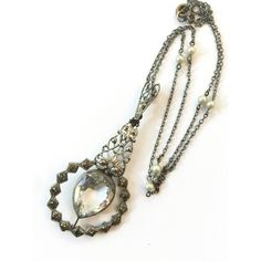 Antique Filigree Crystal Necklace Victorian Faceted Glass Pendant... ($98) ❤ liked on Polyvore featuring jewelry, pearl jewellery, vintage victorian jewelry, antique victorian jewelry, antique jewelry and vintage bridal jewelry