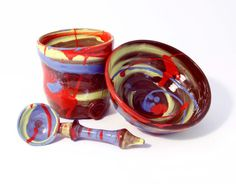 Cup Bowl and Spoon Set. Colourful handmade by WigwamCeramics, £65.00