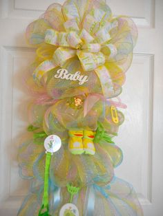 Baby Deco Mesh Wreaths, Unisex Welcome Home Swag, Baby Shower Decoration, Newborn Baby Hospital Door Swag, Nursery Wreath or Swag by MimisSparkledDesigns on Etsy