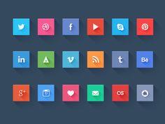 Long shadow social icons design - freebie