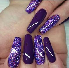 The Most Fashionable and Beautiful Purple Nail Art Designs 2018 Purple Acrylic Nails, Purple Nail Art, Purple Nail Designs, Best Acrylic Nails, Nail Art Designs, Purple Glitter Nails, Nails Design, Purple And Silver Nails, Blue Nails