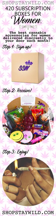 Stoner 420 Subscription Boxes for Women from www.shopstaywild.com #cannabis #weed #420 #marijuana #kush #subscription #bong #pipe #glass #grinder #weedhumor #hightimes #herb #edibles #cbd #legalize #chronic #pothead #bubbler