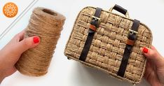 In this video I will show how to make a woven suitcase from jute and cardboard. In addition to jute and cardboard, you will need glue, f. Jute Crafts, Vintage Suitcases, Vintage Luggage, Free To Use Images, Diy Handbag, Paper Basket, Jute Bags, Cardboard Crafts, Crochet Videos